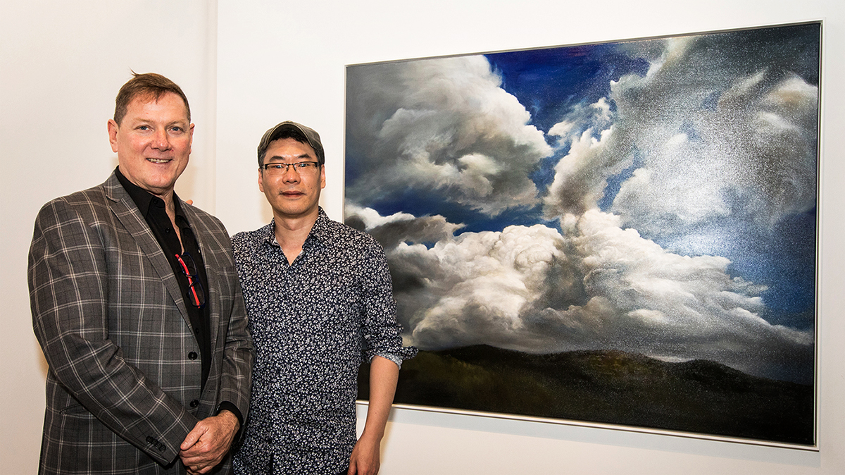 Mike Mitchell and Min-Woo Bang at 'The Immensity of Sky' Exhibition Opening at Mitchell Fine Art Gallery in Fortitude Valley Brisbane