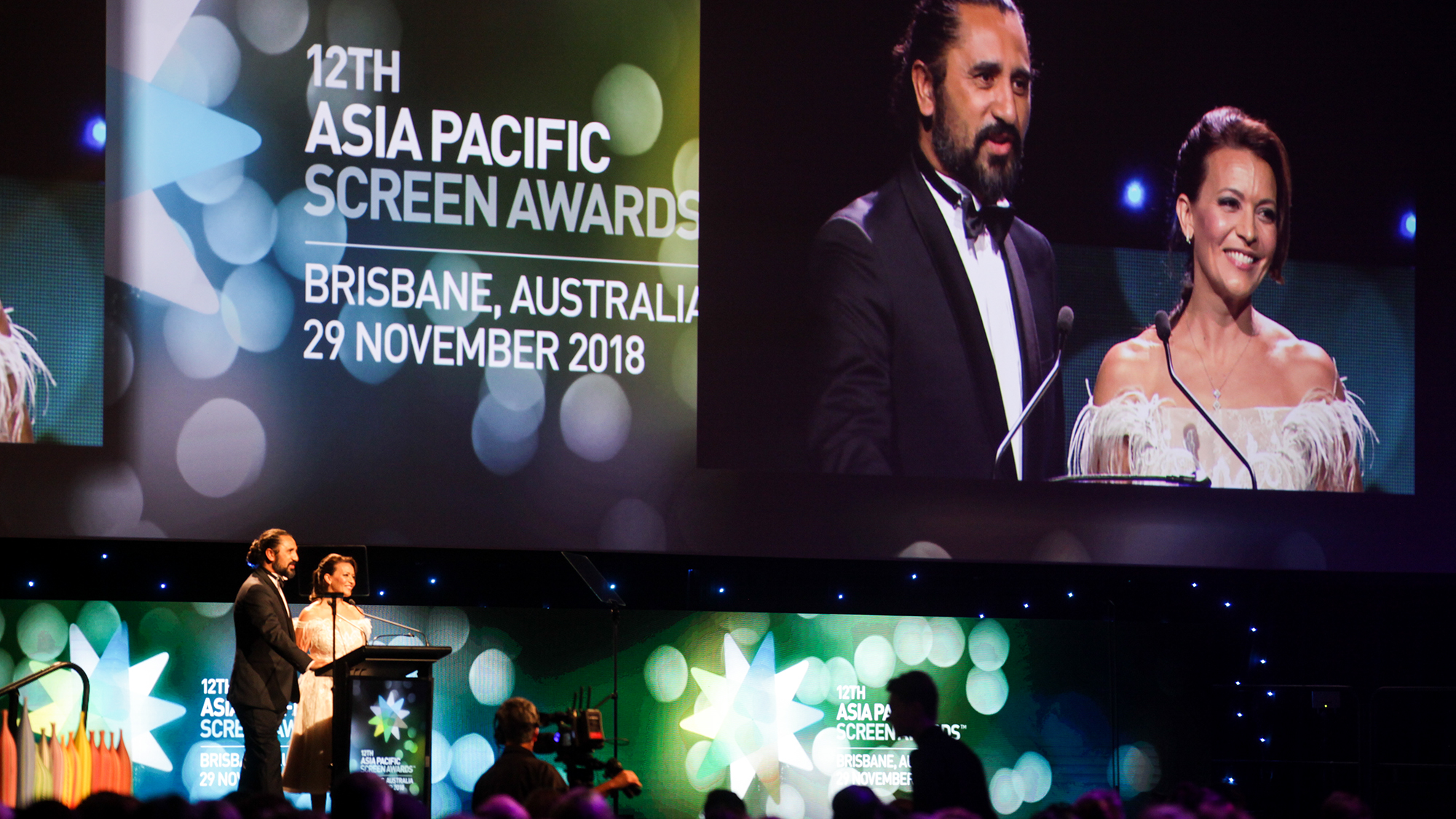 Hosts for the Asia Pacific Screen Awards Sofie Formica and Cliff Curtis at the Brisbane Exhibition & Entertainment Centre