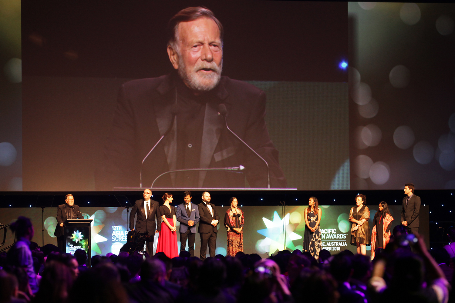 Actor Jack Thompson Presenting awards at the Asia Pacific Screen Awards in Brisbane
