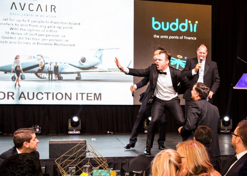 Avcair Owner Michael Cooke during the Auction at Zoe's Angels Charity Gala held at the Sofitel Hotel in Brisbane
