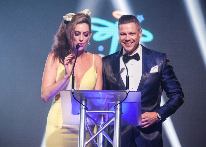 TV Presenters Samantha Heathwood and Josh Holt hosting the Zoe's Angels Charity Gala held at the Sofitel Hotel in Brisbane