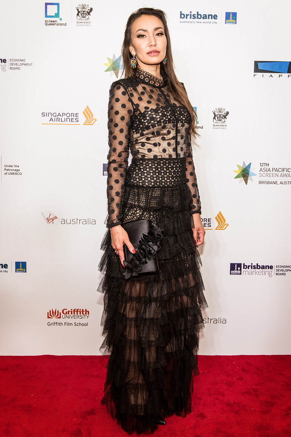 Alina is wearing a Bronx & Banco Black 'Isabella Gown' on the Red Carpet of the APSA which was held in Brisbane
