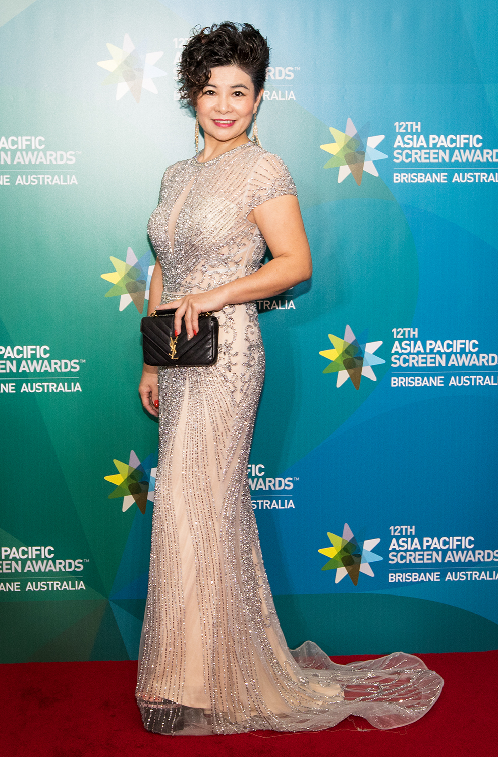 Elegant Silver Evening dress on the Red Carpet of the APSA held at the Brisbane Convention and Exhibition Centre