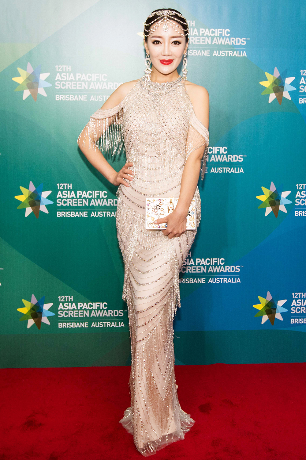 Gorgeous Woman wearing a Tassel and beaded Long Evening Dress at the APSA in Brisbane