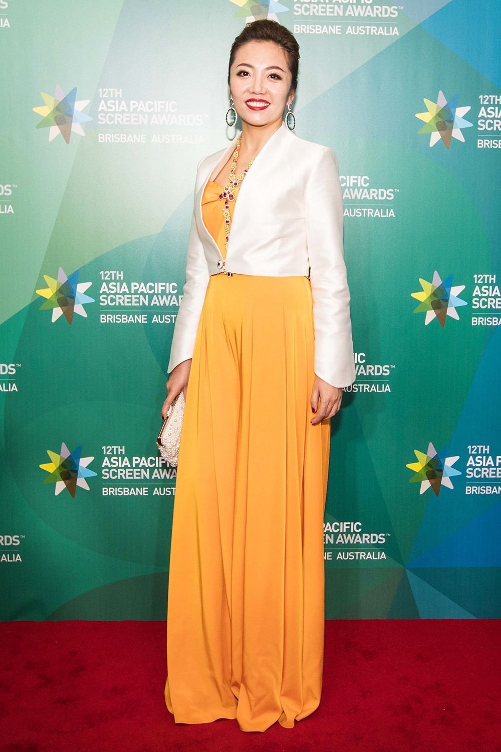 Yellow Evening Dress on the Red Carpet of the APSA in Brisbane