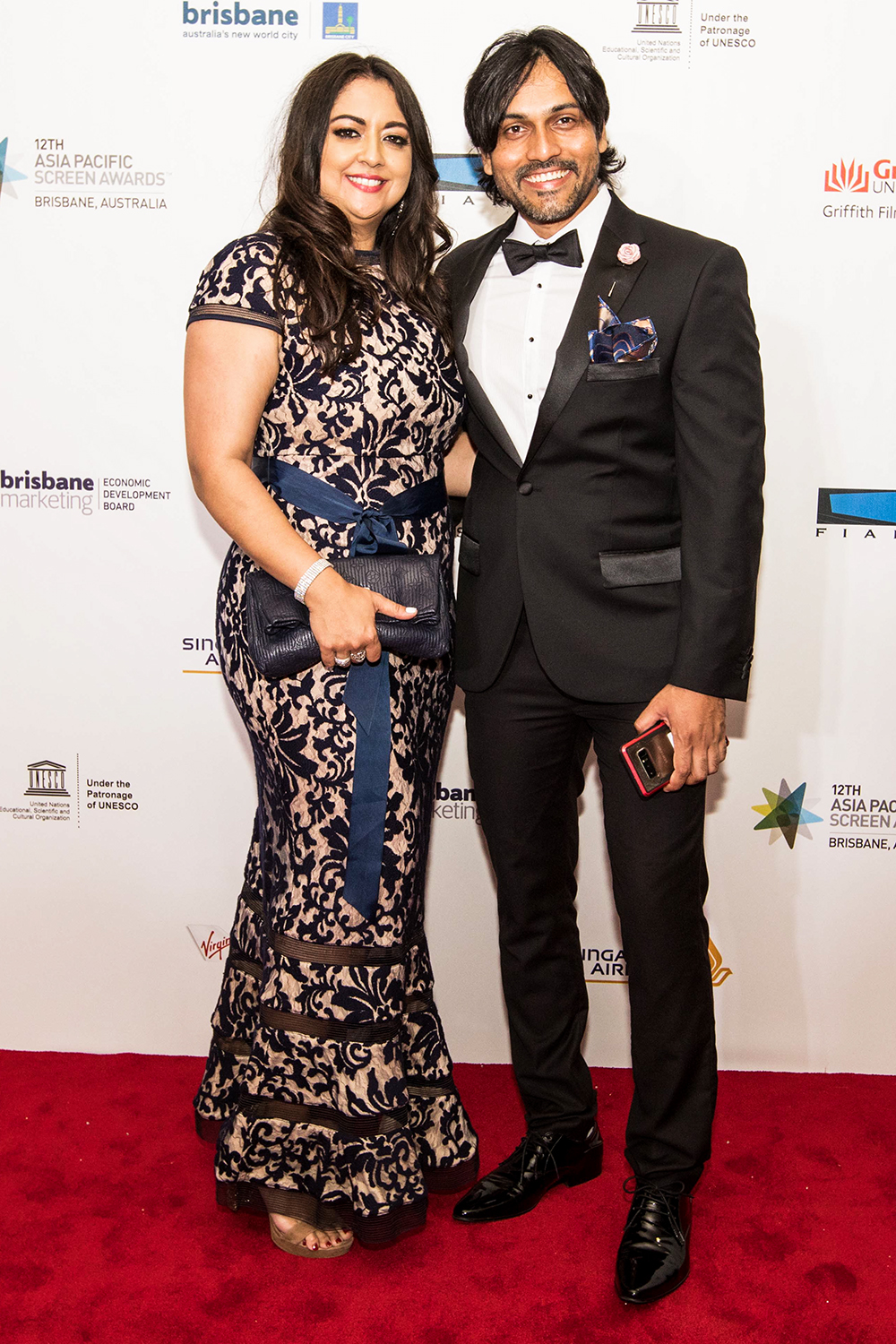 Shweta and Akheel from Starfire Jewellery attend the Red Carpet Event APSA held in Brisbane